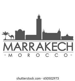 Marrakech Skyline Silhouette Skyline Stamp Vector City Design
