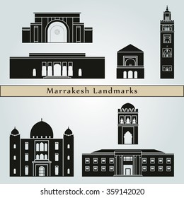 Marrakesh landmarks and monuments isolated on blue background in editable vector file