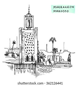 Marrakesh Morocco Black  building hand drawn ink vector illustration, cityscape sketch, Typographic design.
