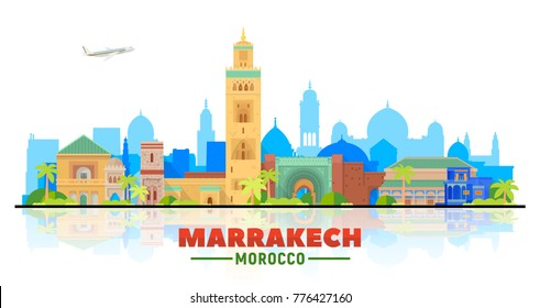 Marrakesh ( Morocco ) city skyline with panorama on white background. Vector Illustration. Business travel and tourism concept with old buildings. Image for presentation, banner, web site.