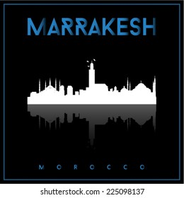 Marrakesh, Morocco, skyline silhouette vector design on parliament blue and black background.