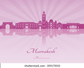 Marrakesh skyline in purple radiant orchid in editable vector file
