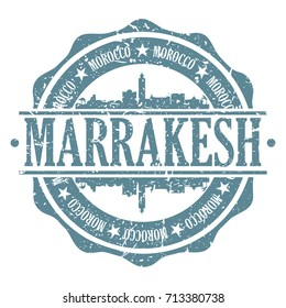 Marrakesh Stamp Post Skyline Silhouette City Vector Design Art