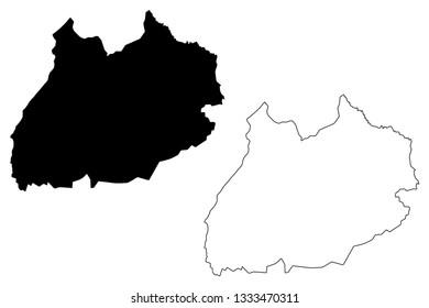 Marrakesh-Safi Region (Administrative divisions of Morocco, Kingdom of Morocco, Regions of Morocco) map vector illustration, scribble sketch Marrakesh-Safi map