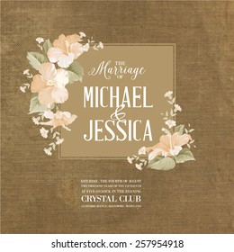 Marriage card with romantic flowers on brown fabric. Vector illustration.