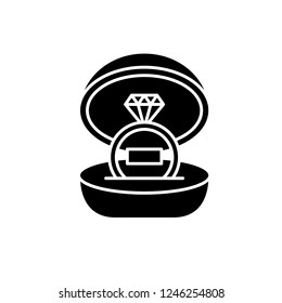 Marriage ceremony black icon, vector sign on isolated background. Marriage ceremony concept symbol, illustration