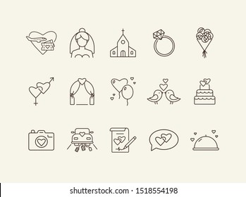 Marriage ceremony day icons. Set of line icons. Wedding invitation, suitcase, church. Wedding concept. Vector illustration can be used for topics like marriage, family, love