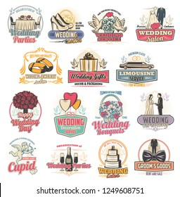 Marriage ceremony or wedding arrangement services icons. Party and salon, jewelry and gifts, limousine ordering and decoration, cake and bouquet. Groom and bride outfit shop badge vector isolated