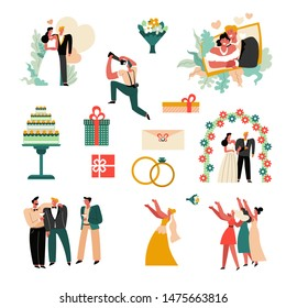 Marriage ceremony, wedding day, bride and groom icons vector. Cake, bridal rings and flower arch, family portrait, invitation and presents, best men and bridesmaids, throwing bouquet, photographer