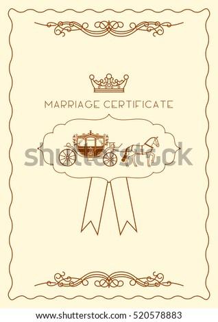 marriage certificate document template design vector stock vector
