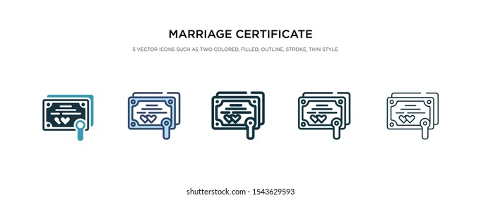marriage certificate icon in different style vector illustration. two colored and black marriage certificate vector icons designed in filled, outline, line and stroke style can be used for web,