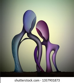 marriage concept, togetherness concept,  blue man and pink woman shapes Intertwined, together forever, couple in love abstract surrealism shapes, vector