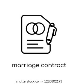 marriage contract icon. Trendy modern flat linear vector marriage contract icon on white background from thin line Insurance collection, editable outline stroke vector illustration