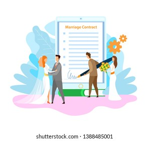 Marriage Contract Signing Flat Vector Illustration. Happy Couple Getting Married. Wife and Husband, Groom and Bride Cartoon Characters. Wedding Registration. Engagement Ceremony Celebration