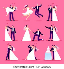 Marriage couple. Just married couples, wedding dancing and weddings celebration. Newlywed bride and groom, marriage ceremony or new husband and wife family. Vector illustration isolated icons set