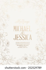 Marriage design template with custom names in frame with exotic flowers. Vector illustration.