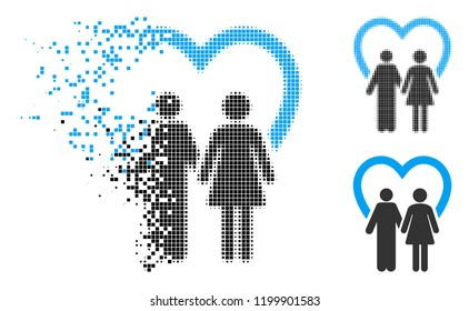 Marriage icon in disappearing, dotted halftone and undamaged solid versions. Points are composed into vector disappearing marriage icon. Disappearing effect involves square dots.