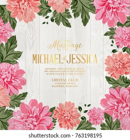 Marriage invitation card. Chrysanthemum garland for holiday card. Avesome flower border with mum flowers isolated over wood background.