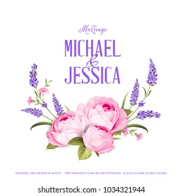 Marriage invitation card with custom sign and flower garland. Lavender and rose bouquet for provence card. Printable vintage marriage invitation with flowers over white. Lavender sign label.