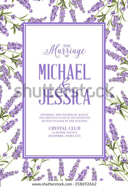 Marriage Invitation Card Custom Sign Flower Stock Vector
