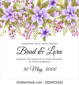 Marriage invitation card with pink flowers Wedding floral vector template