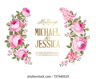 ed5117bb751 Marriage invitation card. Rose garland for holiday card. Avesome flower  garland with roses isolated
