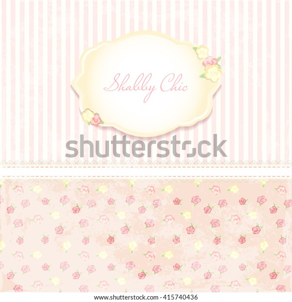Marriage Invitation Card Shabby Chic Wedding Stock Vector