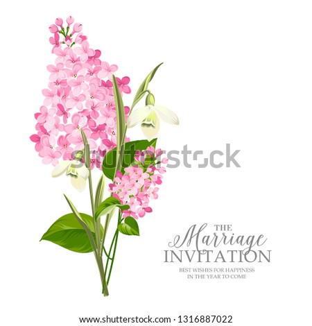 Marriage Invitation Card Template Sign Spring Stock Vector Royalty
