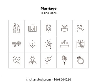 Marriage line icons. Set of line icons. Love badge, melody, bed. Wedding concept. Vector illustration can be used for topics like marriage, family, love