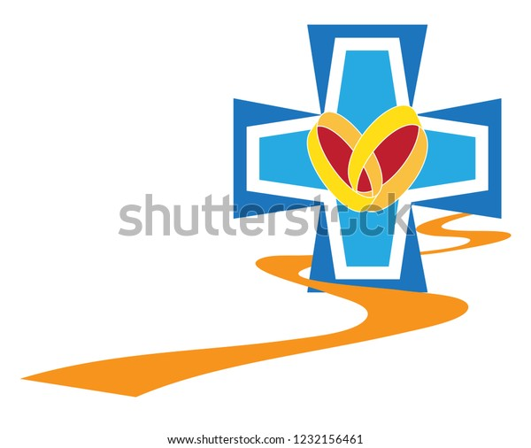 Marriage Preparation Course Christian Symbol Path Stock