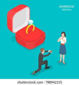 Marriage proposal flat isometric vector. Man with a ring in his hands is standing on his knee in front of a girl. In the scene background is a huge red box and a ring with diamond inside it.