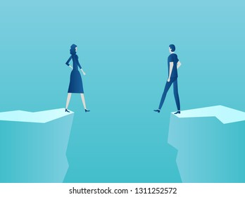 Marriage, relationship problems concept. Vector of a couple man and woman standing at the edge of the abyss