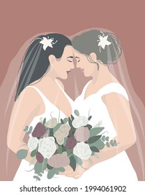 Marriage of two lesbian girls, family. Modern LGBT portrait in minimalist, bohemian, flat style. In gentle colors. For the concept of wedding, celebration, print on clothes, poster, postcard, decor.
