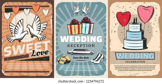 Marriage or wedding ceremony invitation with dove, gifts and cake. Vector pigeons and heart-shaped balloons, present boxes with bow and limousine. Bride stilettos shoes and gold rings