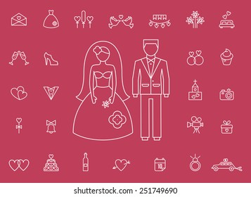 Marriage, wedding icons drawn in the modern style. Large silhouettes of a groom and bride