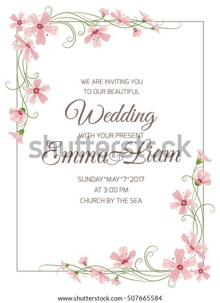 Marriage Wedding Invitation Card Template Pink Stock Vektorgrafik