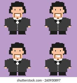 Marriage. Wedding. Pixelated happy groom on purple backdrop. Digital background vector pattern.