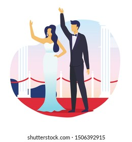 Married Celebrities Waving Hands Flat Illustration. Famous Woman in Wedding Dress and Man in Tuxedo Cartoon Characters. Happy Newlyweds Couple, Husband and Wife Standing Together on Red Carpet