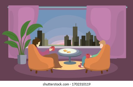 married couple in chairs with mugs in their hands against background of an open window with a view of the city. staying home for breakfast together