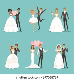 Married couple characters set. Wedding mascot design in cartoon style. Brides in beautiful clothes