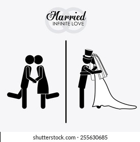 married, couple, desing white background, vector illustration.