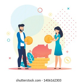 Married Couple Save Coins in Piggy Bank Metaphor Cartoon. Family Budget, Home Savings and Investment Money. Future Financial Planning. Safe Economical Fund Deposit Strategy. Vector Flat Illustration