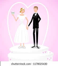 Married couple in wedding dress and suit as wedding cake decoration (vector illustration)