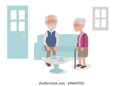 Married and loving Elderly couple having Tea at home - vector characters body parts grouped and easy to edit - limited palette