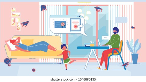 Married Man with Laptop Prepares to Exam, Receives Vocational Education and Diploma from Home. Homeschooling, E-learning, Online Education, Distance Professional Courses. Flat Vector Illustration.