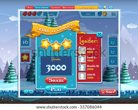 marry christmas game user interface gui example completing level computer web design