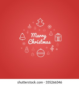 Marry Christmas gift red card with outline icons