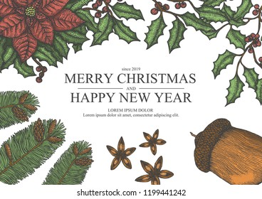 Marry christmas and happy new year sketch illustration for poster on another template.
