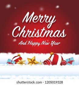 marry christmas and happy new year design with realistic concept