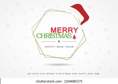 Marry Christmas and Happy New Year poster, Banner, Christmas ornaments, Christmas card isolated on white background V.1 - Vector illustration eps 10